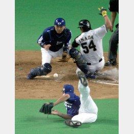 2006年日本シリーズ第5戦の五回にスクイズで同点に追い付かれる(手前は川上、捕手は谷繁)/(C)日刊ゲンダイ