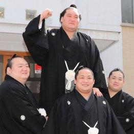 伊勢ケ浜部屋の力士に祝福される照ノ富士