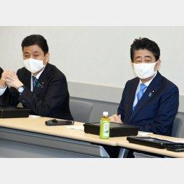 「日本の尊厳と国益を護る会」に出席する安倍前首相、左は弟の岸信夫防衛相(C)日刊ゲンダイ