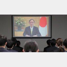 7日、国家公務員合同初任研修で、ビデオメッセージで訓示する菅首相(代表撮影)