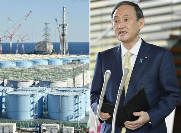 タンク増設は本当に不可能なのか(東京電力福島第1原発処理水の海洋放出を正式決定し、記者団に応じる菅首相=13日)/(C)共同通信社