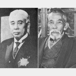 原敬(=左、国立国会図書館所蔵画像/共同通信イメージズ)は、犬養毅(日本電報通信社撮影)とも連携した