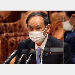 12日、衆院決算行政監視委で答弁する菅義偉首相(C)日刊ゲンダイ