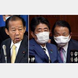 二階幹事長(左)の発言に、五輪開催強硬派の安倍前首相(右2)や麻生財務相は…(C)日刊ゲンダイ