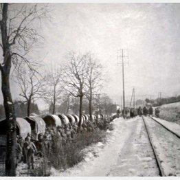 ベルダンの戦いで補強されたトラック。負傷者は救急車に向かって歩いている(C)World History Archive/ニューズコム/共同通信イメージズ