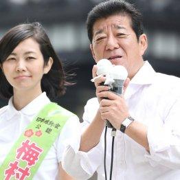 梅村議員の応援演説をする松井維新代表