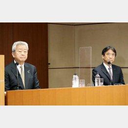 NTTの澤田純社長(左)とNTTドコモの吉澤和弘社長(C)共同通信社
