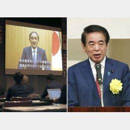 改憲派集会「公開憲法フォーラム」にビデオメッセージを寄せた菅首相(左)と出席し挨拶をする下村博文政調会長(C)共同通信社