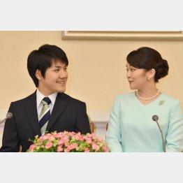 婚約内定会見での小室圭さんと眞子さま(代表撮影)JMPA
