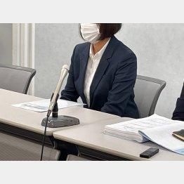 大阪地裁での協議後に記者会見する赤木雅子さん(撮影:相澤冬樹)