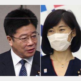 加藤官房長官(左)と丸川五輪相(C)日刊ゲンダイ