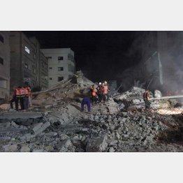 当時のハマス軍事部門トップ、ムハンマド・ディーフの自宅ビル跡(2014年8月)/(撮影)藤原亮司