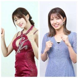 グラビアアイドルの森咲智美さん(左)と競馬情報番組に出演している西村まどかさん