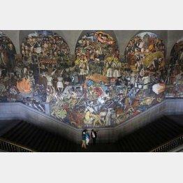 ③メキシコ国立宮殿に描かれた巨大壁画(C)ロイター