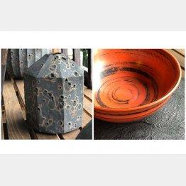 左から、前沢幸恵さんの陶芸作品、十時啓悦さんの漆作品(提供写真)