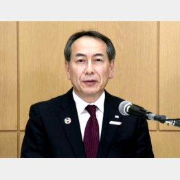 オンライン記者会見するJTBの山北栄二郎社長(C)共同通信社