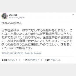 (chocolat.さんのツイッターから)