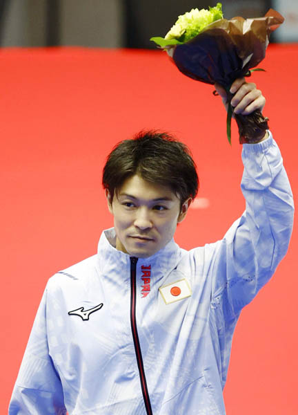 東京五輪代表入りを決めた内村航平。五輪4大会連続出場となる(C)共同通信社