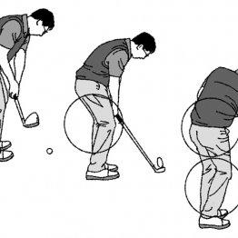 アプローチは短い距離でも右膝や右腰を送り込むことが大切