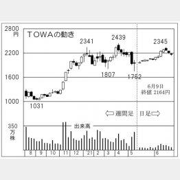 TOWAの株価チャート(C)日刊ゲンダイ