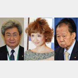 左から中川俊男日本医師会会長、紗栄子、二階俊博自民党幹事長(C)日刊ゲンダイ