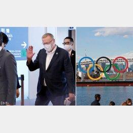 羽田空港に到着したIOCのコーツ副会長(左)、五輪が始まれば…(C)日刊ゲンダイ