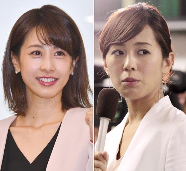 加藤綾子と椿原慶子(C)日刊ゲンダイ
