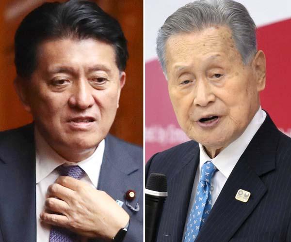 平井卓也デジタル改革担当相(左)と森喜朗前組織委会長(C)日刊ゲンダイ