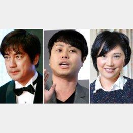 (左から)羽鳥慎一、NONSTYLEの井上裕介、原千晶(C)日刊ゲンダイ