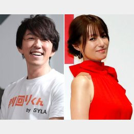 深田恭子(右)とシーラホールディングス会長の杉本宏之氏(C)日刊ゲンダイ