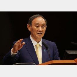 東京都に4度目となる緊急事態宣言発令などを表明し、記者会見する菅首相(C)JMPA