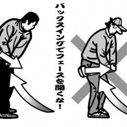 テークバックはヒールからインサイドに引く フェースと右手のひらは同じ向き