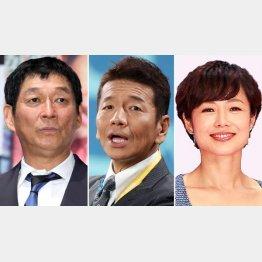 日本テレビは(左から)明石家さんま、上田晋也、有働由美子(C)日刊ゲンダイ