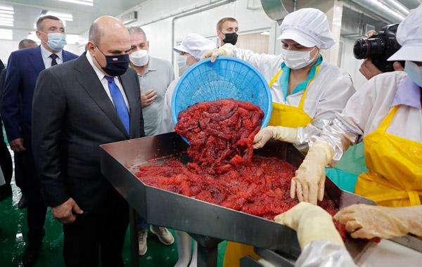 ハッキリ言って北方領土からの日本排除(択捉島を訪問し、現地工場を視察するロシアのミシュスチン首相=左2) (C)ロイター/Sputnik
