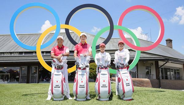 メダル獲得に挑むゴルフ日本代表メンバーの、左から松山英樹、星野陸也、畑岡奈紗、稲見萌寧(C)共同通信社