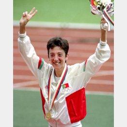 1988年ソウル五輪、期待通りに優勝したロザ・モタ(C)共同通信社