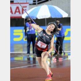2019年10月、66メートル00の日本記録を樹立した北口榛花(C)共同通信社