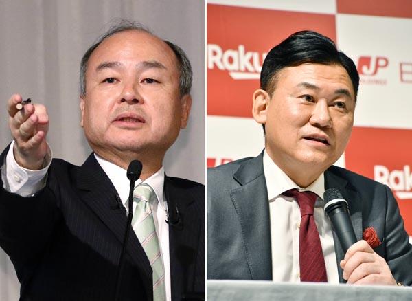 ソフトバンクの孫氏(左)と楽天の三木谷氏(C)日刊ゲンダイ