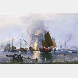 写真② アヘン戦争で破壊された中国のジャンク船 (C)Wikimedia Commons