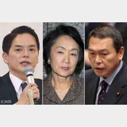 左から山中竹春氏、林文子横浜市長、小此木八郎氏(C)日刊ゲンダイ