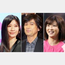 (左から)篠原涼子、江口洋介、森高千里(C)日刊ゲンダイ