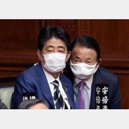 キングメーカーを狙う(安倍前首相と麻生財務相)/(C)日刊ゲンダイ