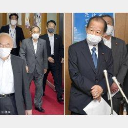 2日、二階幹事長との会談を終え出てきた菅首相(左)と3日、ぶら下がり取材に応じる二階幹事長(C)日刊ゲンダイ