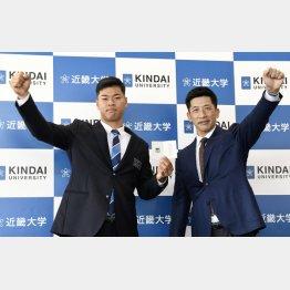 2020年は佐藤輝明(左)の獲得に成功したが…(右は矢野監督)/(C)共同通信社
