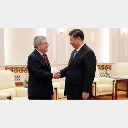 習近平中国国家主席(右)とIOCバッハ会長、北京五輪成功に向けがっちり握手(C)ロイター