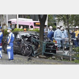 タクシーは街路樹に衝突して止まった=11日(C)共同通信社