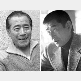 三船敏郎(左)と高倉健(C)共同通信社