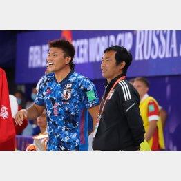 ロシアW杯得点ランク3位の赤熊(左)と田畑コーチ(撮影:Chikako SHINOHARA)