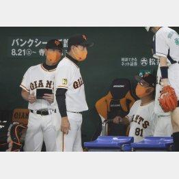 ベンチで原監督(央)と話す宮本コーチ(右)と桑田補佐(C)日刊ゲンダイ