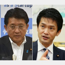 小川議員(右)と平井前デジタル相、7回目の対決はいかに(C)日刊ゲンダイ